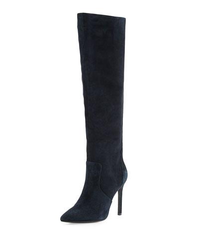 Constance Suede High-Heel Boot, Navy