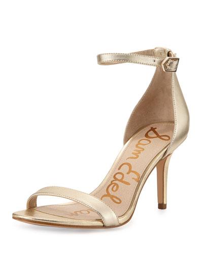 Patti Leather Ankle-Wrap Sandal, Jute