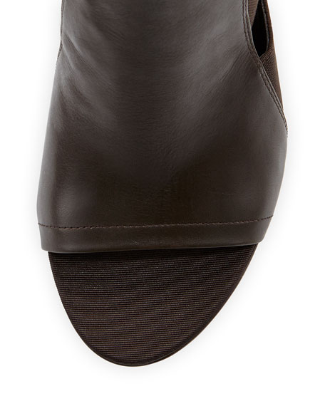 Donna Mixed-Media Bootie, Dark Brown