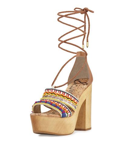 Mel Embroidered Wooden Platform Sandal, Multi