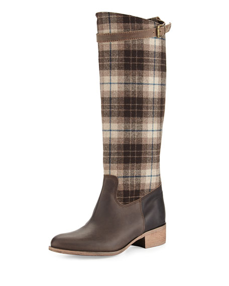 Charles David Gentry Plaid Flat Riding Boot, Brown