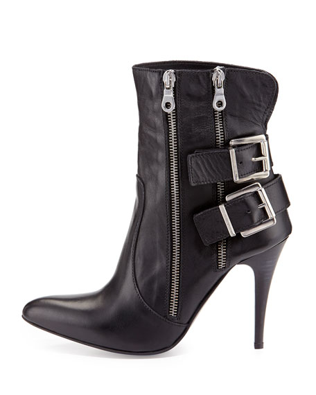Kathy Buckle High-Heel Bootie, Black