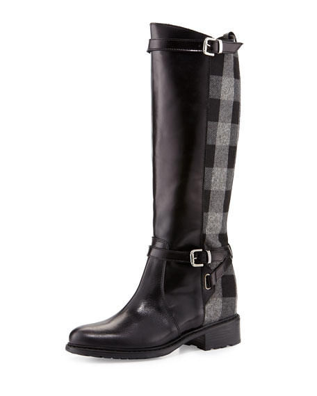 Charles David Pirella Plaid Flat Riding Boot, Black/Gray