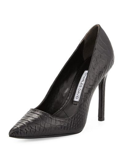 Caterina Snake-Embossed Pointed-Toe Pump, Black