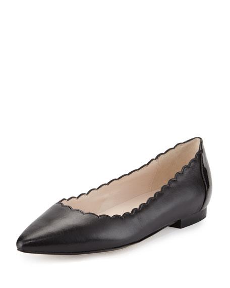 Alice Scalloped Skimmer Flat, Black/Patent