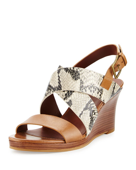 Cole Haan Penelope Strappy Leather Wedge Sandal, Roccia