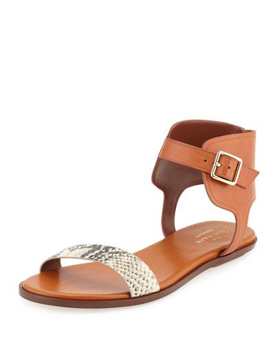 Barra Leather Ankle-Strap Sandal, Camel