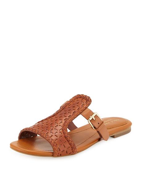 Cole Haan Elettra Laser-Cut Leather Sandal, Acorn