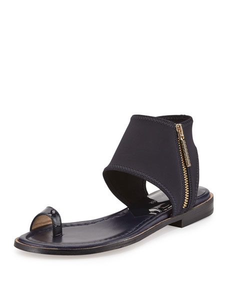 Donald J Pliner Lily Stretch-Ankle Flat Sandal, Navy