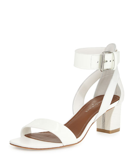 Farah Patent/Leather City Sandal, White