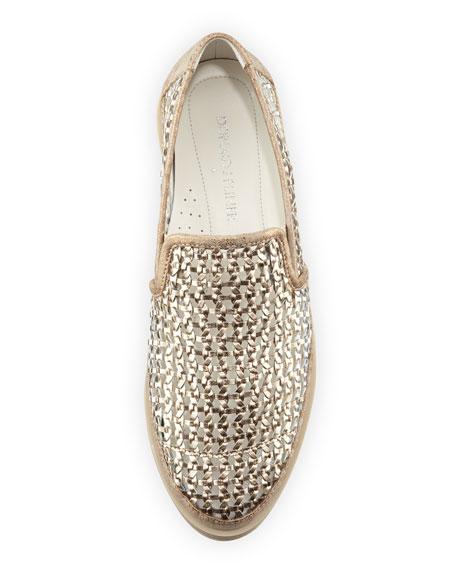 Maze Woven Leather Slip-On Sneaker, Light Bronze