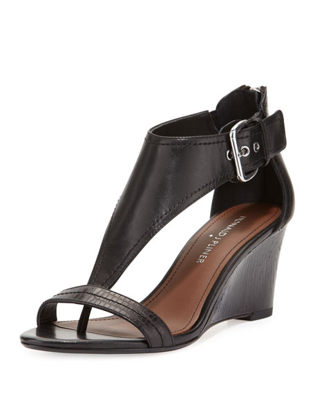 Donald J Pliner June T-Strap Wedge Sandal, Black
