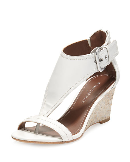 Donald J Pliner June T-Strap Wedge Sandal, White