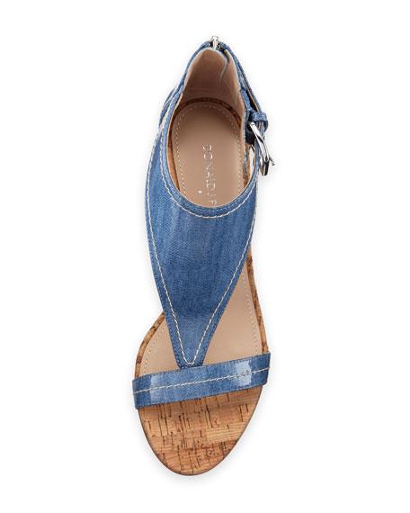 June T-Strap Wedge Sandal, Light Blue