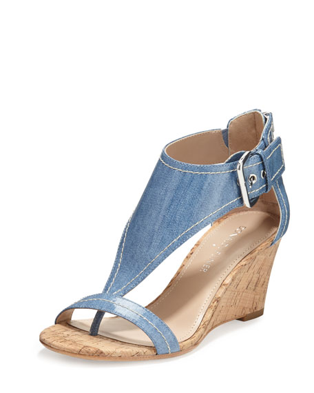 June T-Strap Wedge Sandal, Light Blue