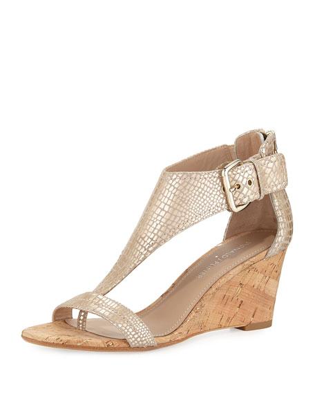 Donald J Pliner June T-Strap Wedge Sandal, Platino