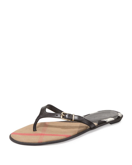 Burberry Meadow Flat Leather Thong Sandal, Black