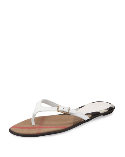 Meadow Flat Leather Thong Sandal, Optic White