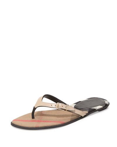 Meadow Flat Leather Thong Sandal, Honey