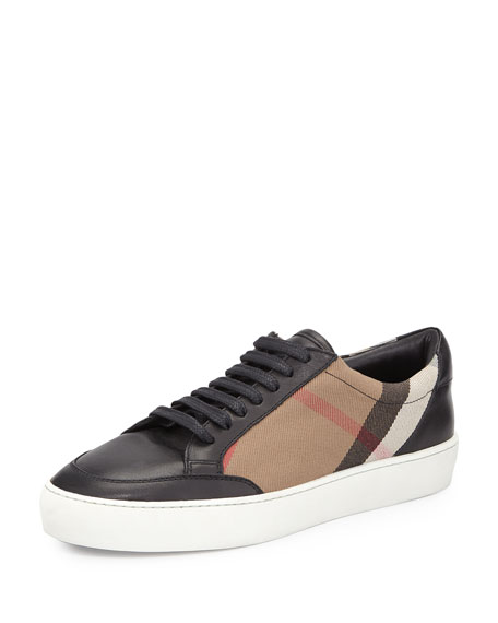 Beige and Black Check Sneakers Burberry