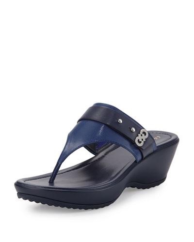 Margate Wedge Thong Sandal, Twilight Blue