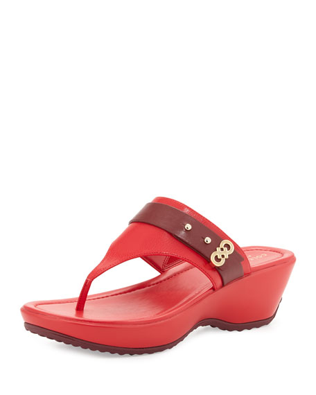Cole Haan Margate Wedge Thong Sandal, Syrah/True Red