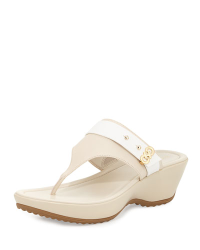 Margate Wedge Thong Sandal, Sandshell