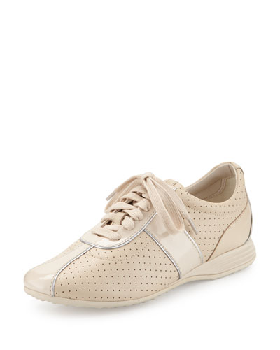 Bria Grand Perforated Leather Sneaker, Sandshell
