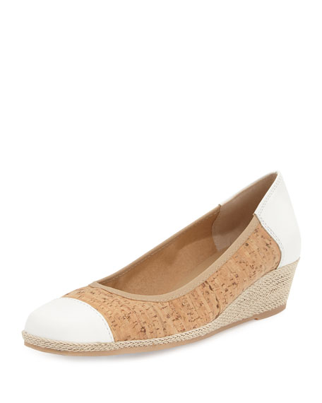 Sesto Meucci Madge Cork Demi-Wedge Pump, Natural/White