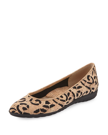Sesto Meucci Bella Laser-Cut Cork Ballet Flat, Natural/Black
