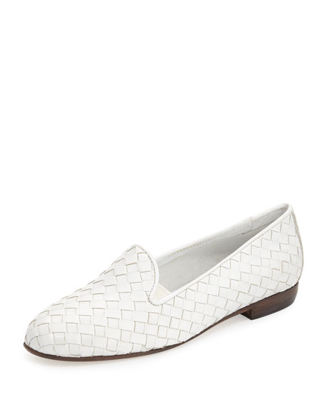 Sesto Meucci Nader Woven Leather Loafer, White