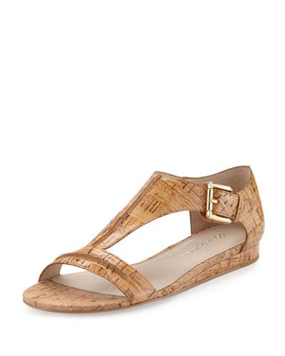Bravo Cork T-Strap Demi-Wedge Sandal, Natural