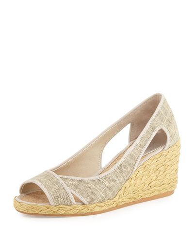 Coraa Linen Espadrille Wedge Sandal, Natural