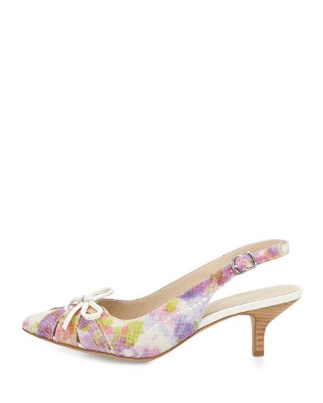 Gella Bow Kitten-Heel Slingback Pump, Peach