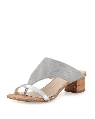 Maara T-Strap Slide Sandal, Silver