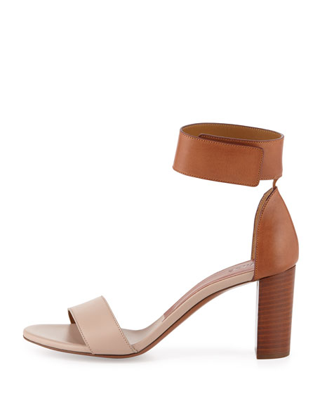 Bicolor Leather Gala Sandal, Cognac/Nude