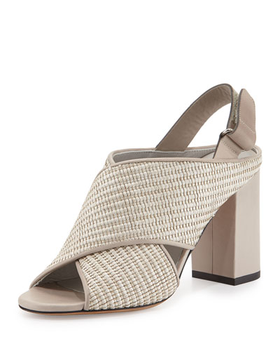 Faine Woven Jute Sandal, Natural/Light Gray