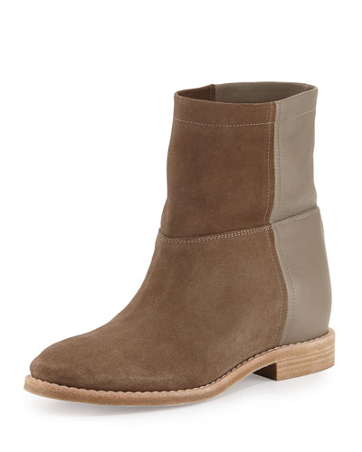 Grayson Suede & Leather Short Boot, Flint