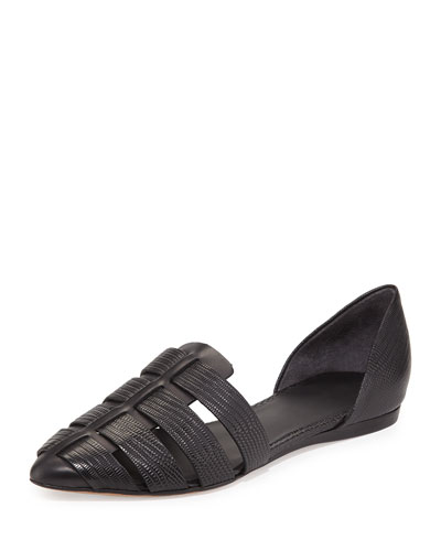Neves Lizard-Embossed d'Orsay Flat, Black