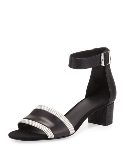 Raine Leather City Sandal, Black/White