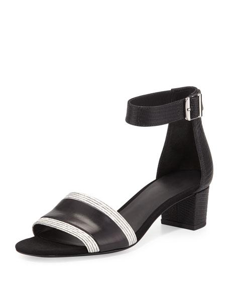 Vince Raine Leather City Sandal, Black/White