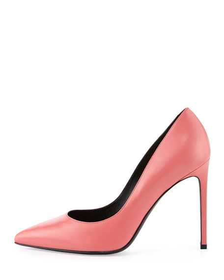 Paris Leather 105mm Pump, Rose