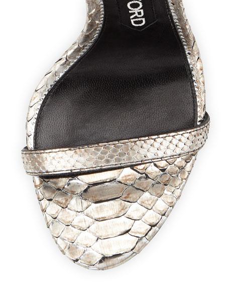 Lock Ankle-Wrap Python 110mm Sandal, Silver