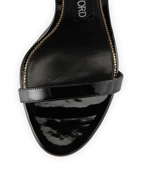 Lock Ankle-Wrap Patent 110mm Sandal, Black