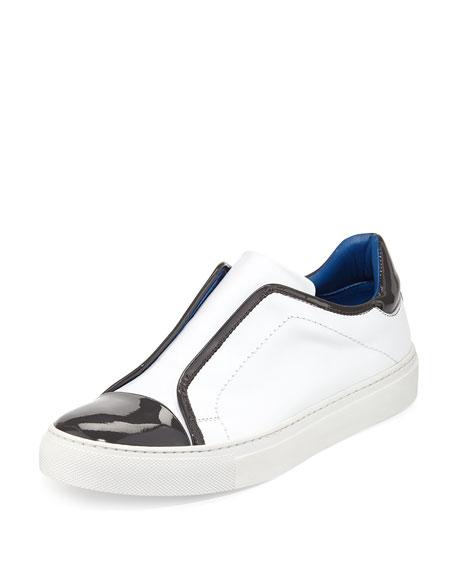 Furla Leather Cap-Toe Slip-On Sneaker, Petalo/Mist