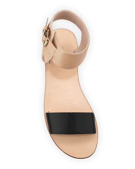 Patent Ankle-Wrap Flat Sandal, Black/Nude