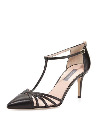 Carrie Leather T-Strap 70mm Pump, Black