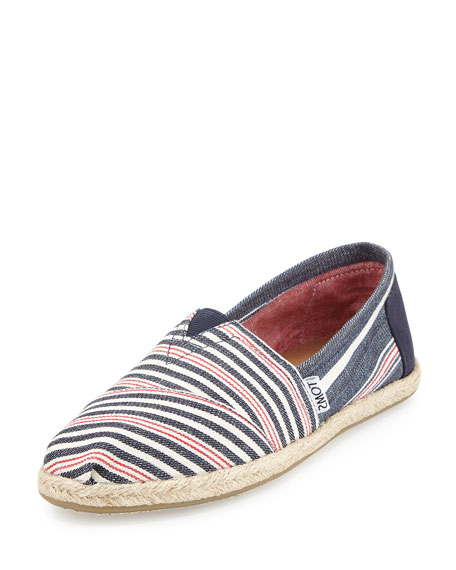 TOMS Seasonal Classic Alpargata Canvas Slip-On, Navy/Red Stripe