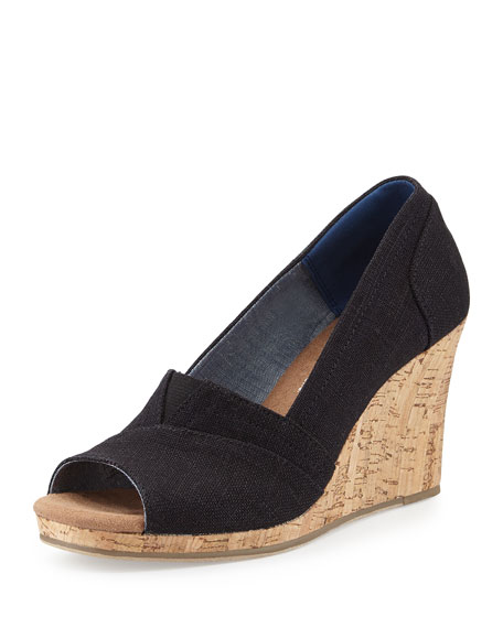 TOMS Emma Canvas Open-Toe Wedge Sandal, Black