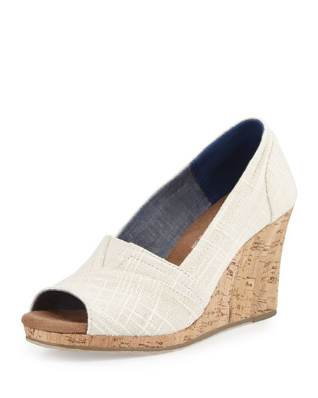 TOMS Emma Canvas Open-Toe Wedge Sandal, Natural